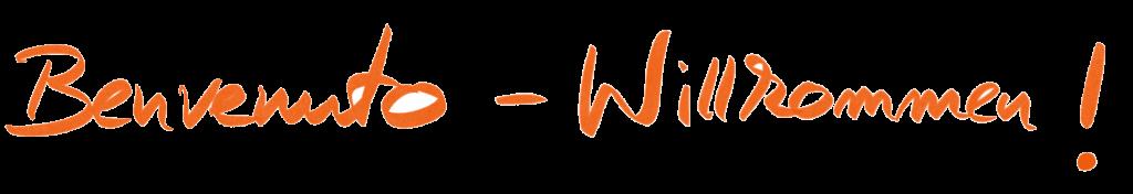 benvenuto willkommen schriftzug orange